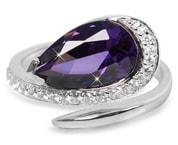 Stříbrný prsten s fialovým krystalem Silver Cat SC133