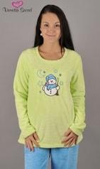 Velurové dámské pyžamo Vienetta Sněhulák a hvězdy - světle zelená