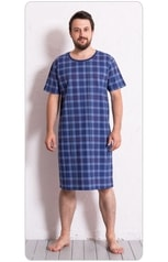 Pánská noční košile s krátkým rukávem Kostka - modrá