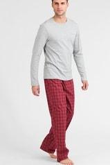 Pánské pyžamo CALVIN KLEIN NM1134E v dárkovém balení šedá/červená