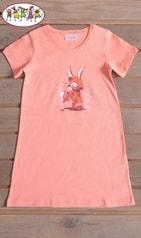 Vienetta Secret Dětská noční košile s krátkým rukávem Zajíc v pláštěnce - meruňková - 5 - 6