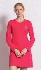 Dámská noční košile s dlouhým rukávem VIENETTA Julie - jahodová