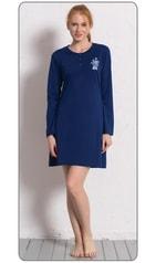 Dámská noční košile s dlouhým rukávem VIENETTA Julie - tmavě modrá