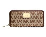 Elegantní peněženka MK Logo Zip Around Continental Brown
