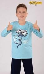 Dětské pyžamo dlouhé VIENETTA Fotbal - světle modrá