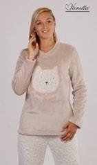 Dámské pyžamo dlouhé VIENETTA Kočka Amy béžová