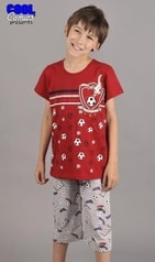 Dětské pyžamo kapri Cool Comics Fotbal - vínová