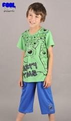 Dětské pyžamo kapri Cool Comics Medvěd na párty - zelená