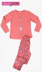 Dětské pyžamo dlouhé VIENETTA Žirafa Long - lososová