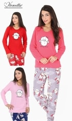 Dámské pyžamo dlouhé Vienetta Velká ovce - růžová