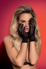 Erotické rukavičky Obsessive Lustella gloves černé